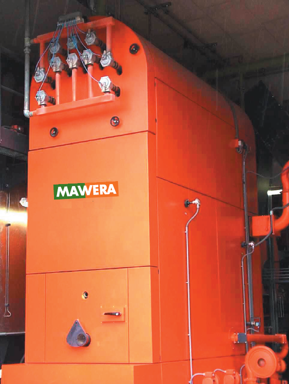 MBTU/h MAWERA firebox boiler model FSR 850 Low-NOx with pneumatic boiler pipe cleaning